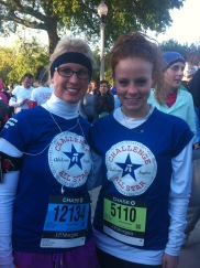 My friend Kathy and I training before a corporate 5k