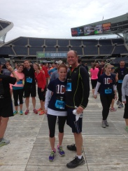 My dad and I finishing our 10 mile run